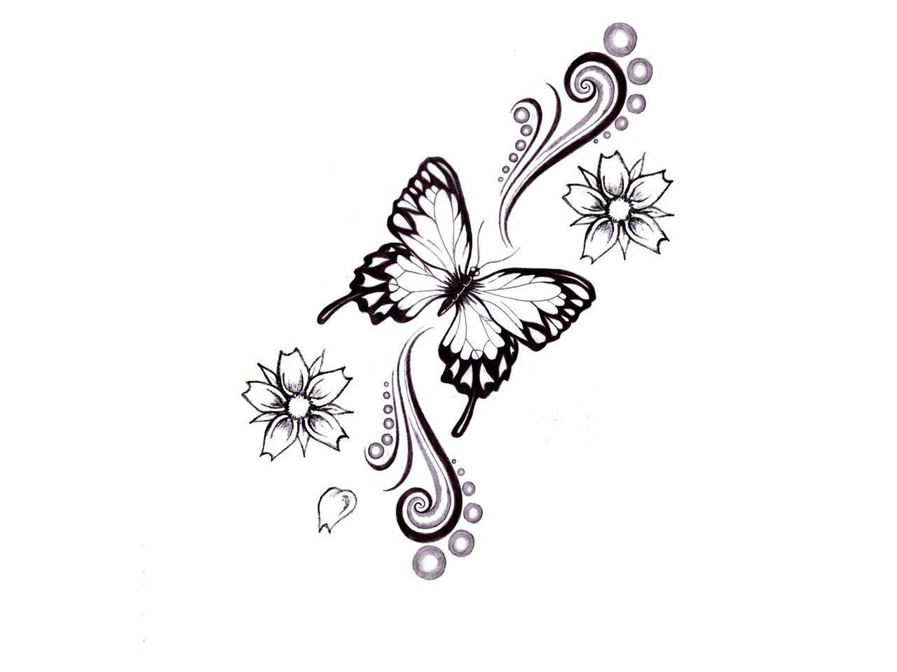 Тату рисунок цветы