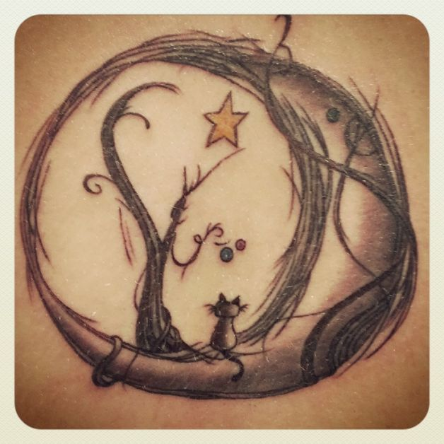 Cat in moon tattoo designs for All in one tattoo