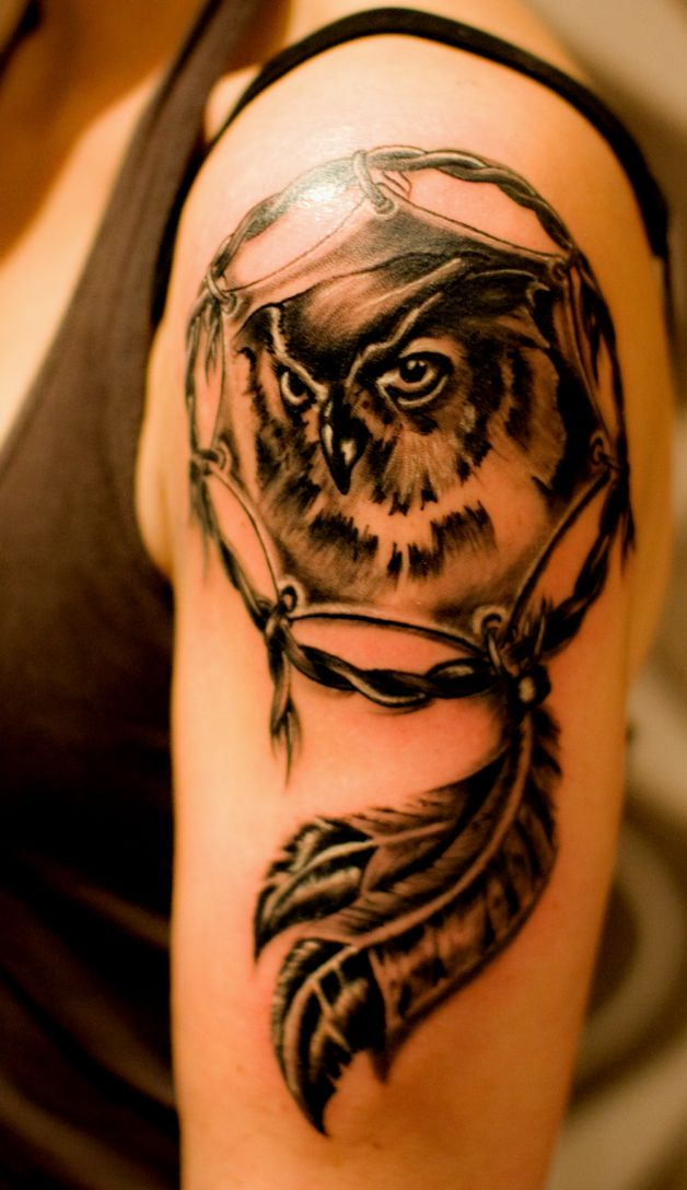 Owl dream catcher tattoo sample for Dreamcatcher tattoo template