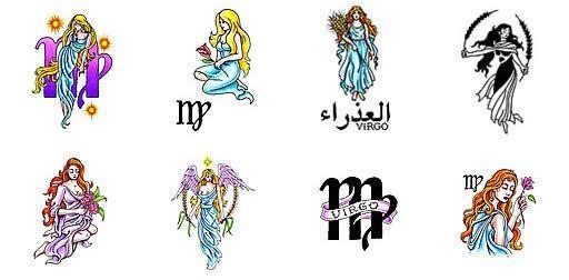 Zodiac Virgo Sign With Flowers Tattoo Designs