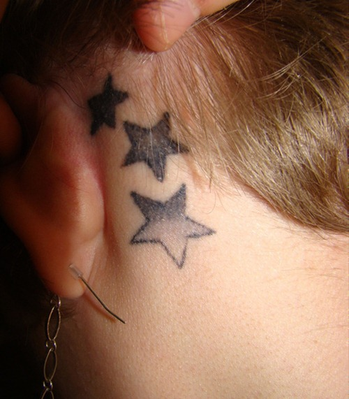 Many tiny star tattoos on back neck for Cute tattoos behind the ear