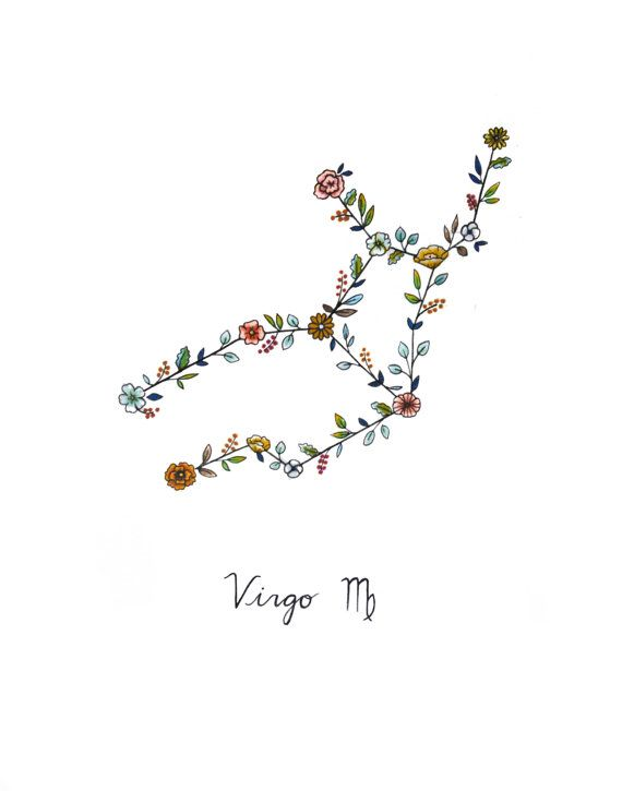 523e6bcfbb85a Zodiac VIRGO Floral Constellation - All Tattoos For-Men