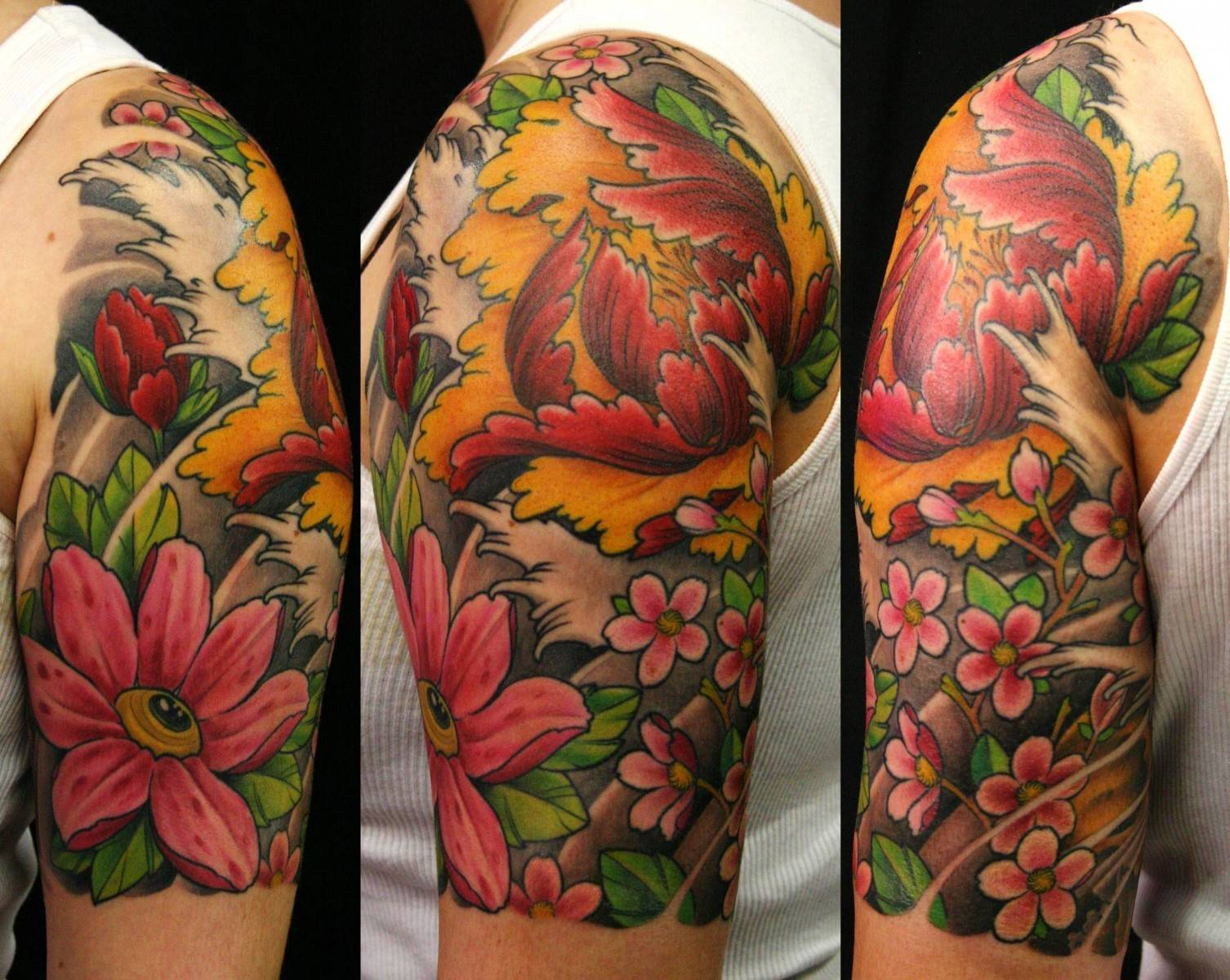 Beautiful Flowers And Grey Wave Tattoos On Half Sleeve