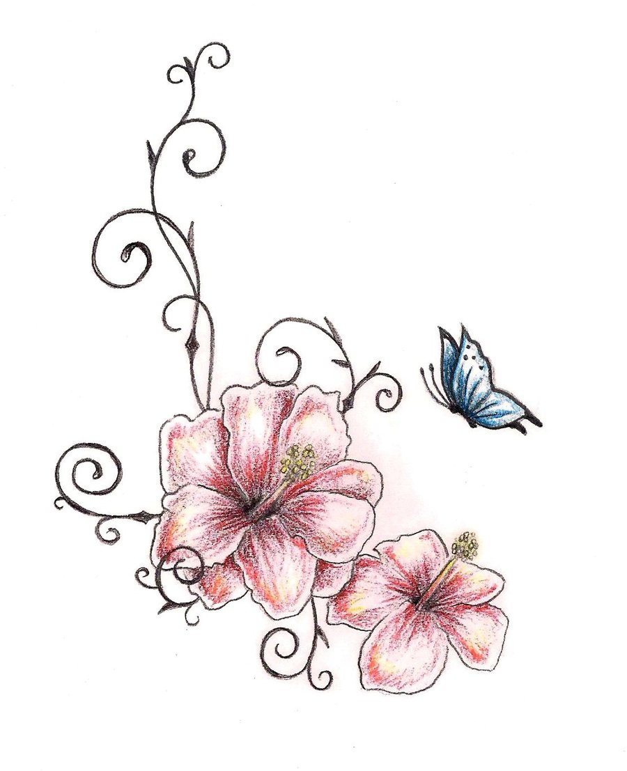 butterfly n hibiscus flowers tattoo design. Black Bedroom Furniture Sets. Home Design Ideas