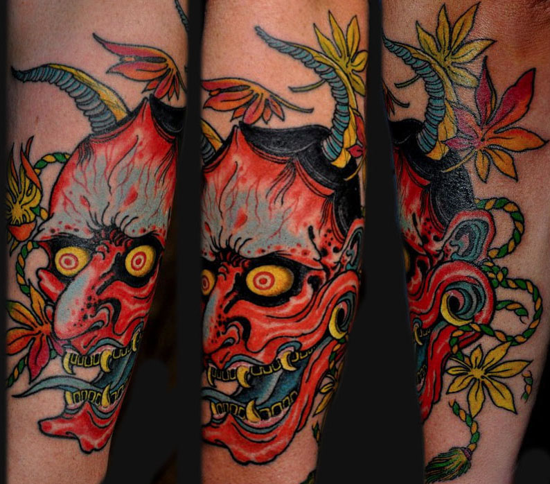 Outline hannya mask and flowers tattoo sample