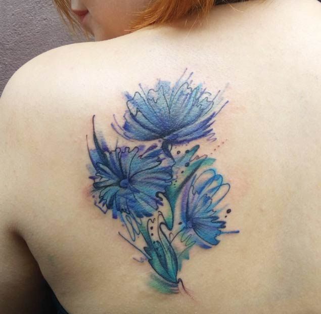 Traditional flowers and clock tattoo designs for Floral leg tattoo designs