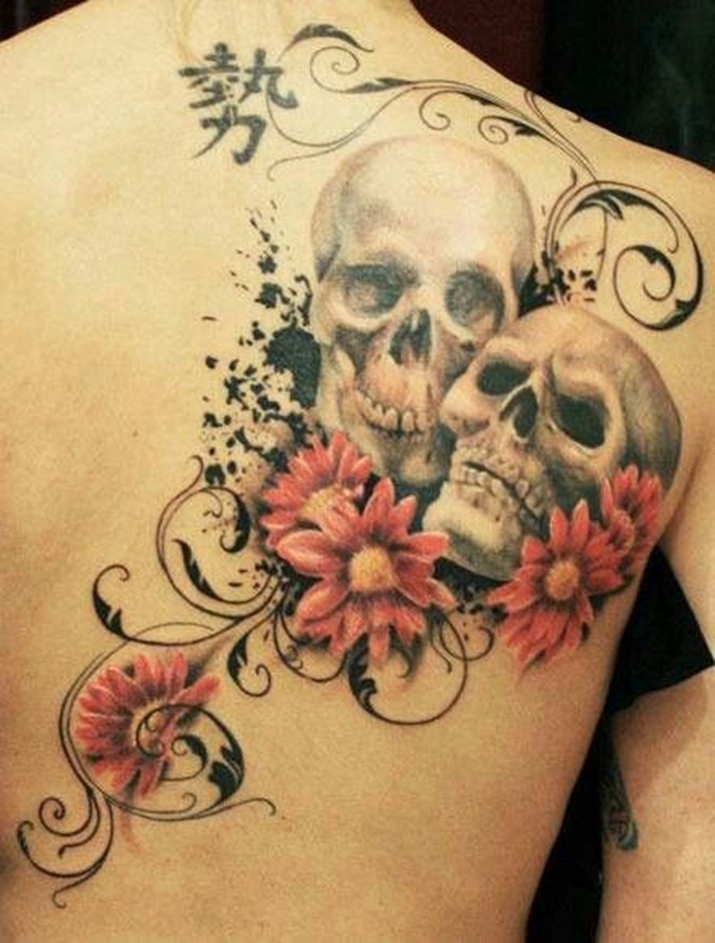 Flowers skull and swirls tattoos on back for All tattoos pictures
