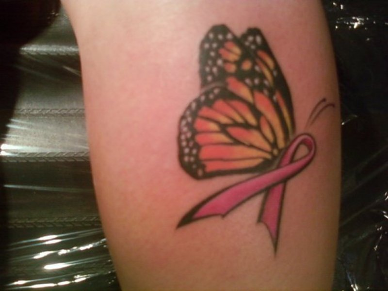 Flowers With Pink Breast Cancer Ribbon Tattoo