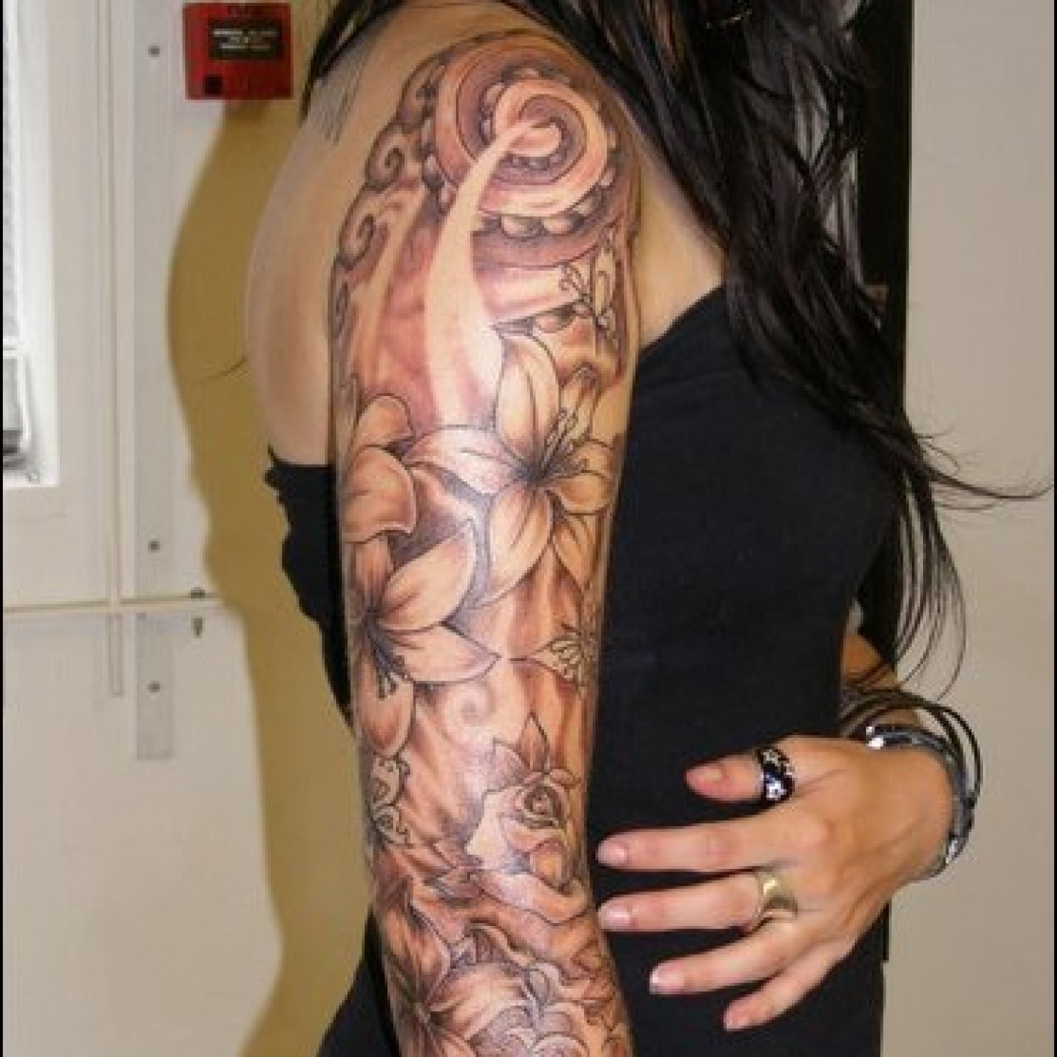Grey flowers and butterfly half sleeve tattoos for All tattoos pictures