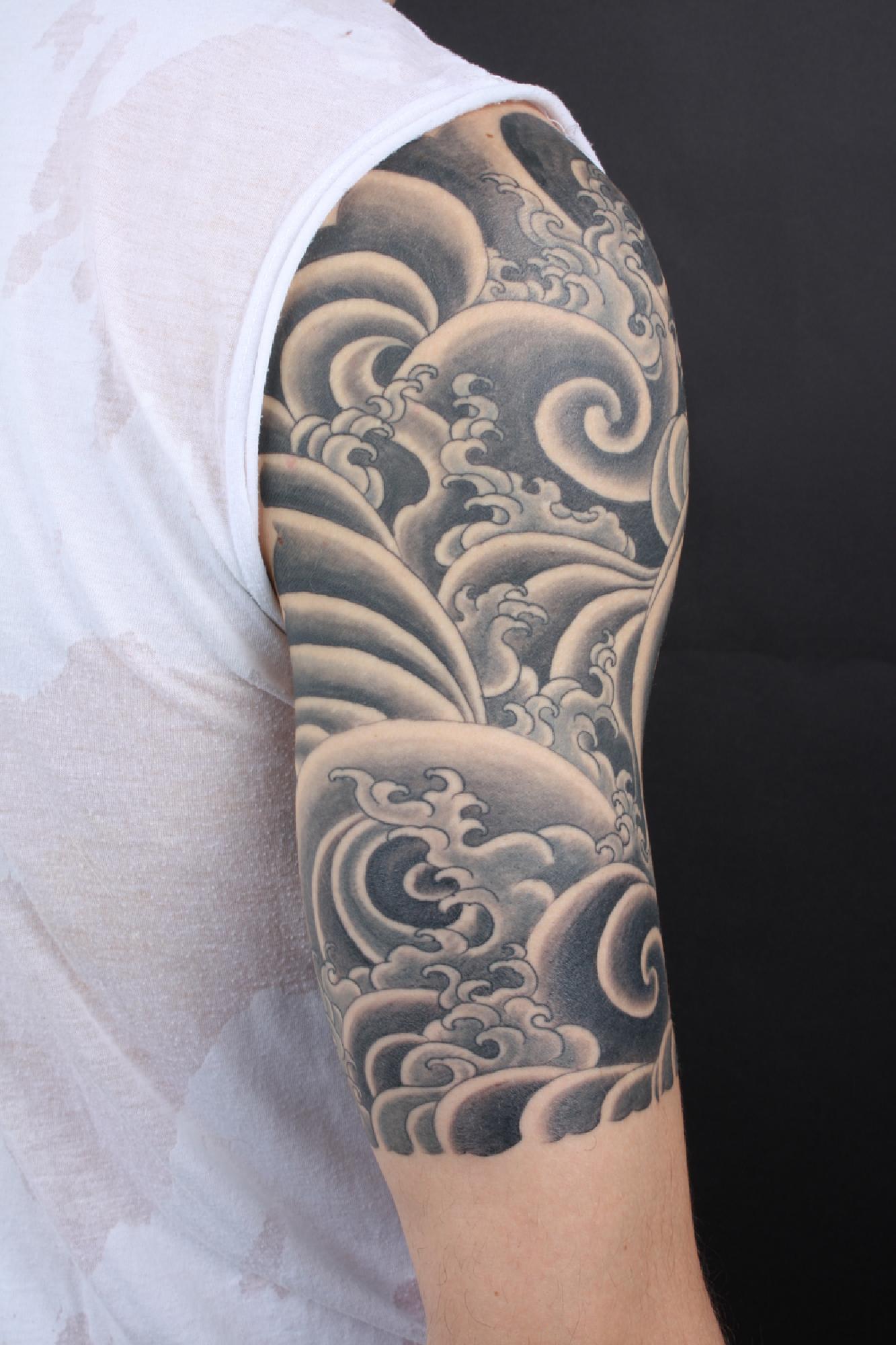 Half sleeve hawaiian flowers tattoo for girls for Half sleeve tattoo for girls