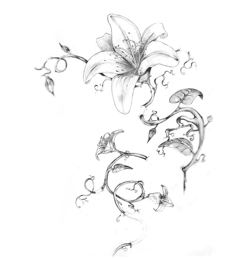 Hawaiian Flowers Tattoo On Back Body For Women
