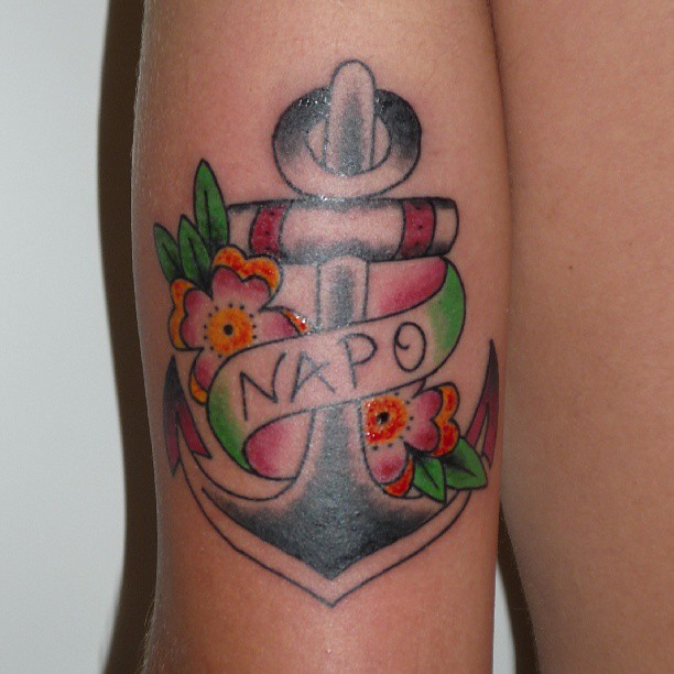 Colorful anchor tattoo with flowers for Anchor with flowers tattoo