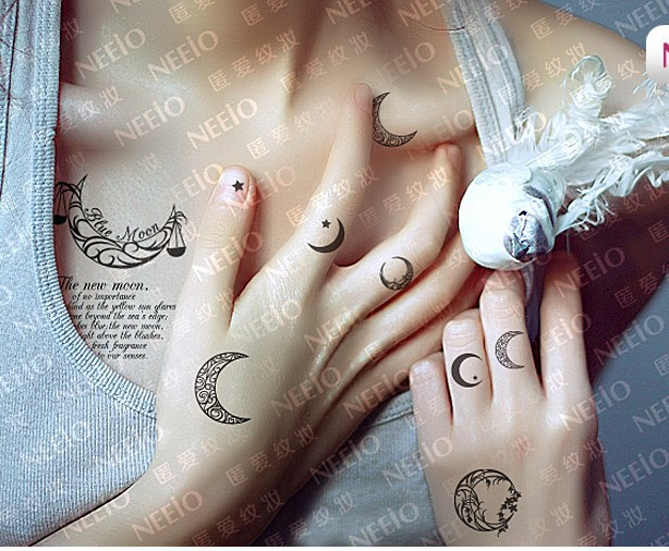 Homemade moon and star tattoo on wrist for Small moon and star tattoo