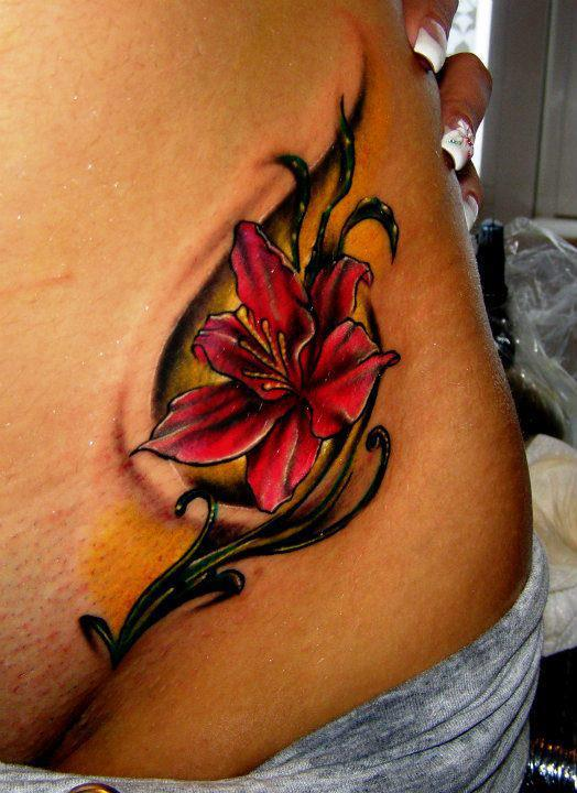 Traditional flowers and clock tattoo designs all tattoos for Floral leg tattoo designs