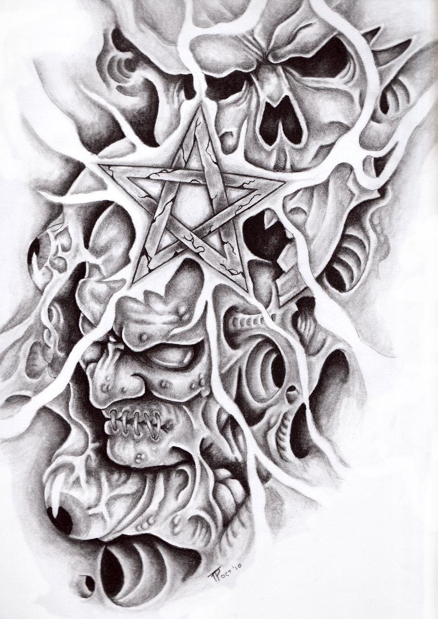 demon star skull tattoo design. Black Bedroom Furniture Sets. Home Design Ideas