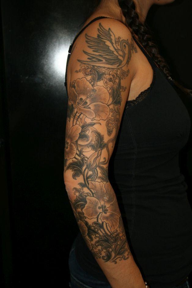 Black And White Feminine Tulip Tattoo On Shoulder