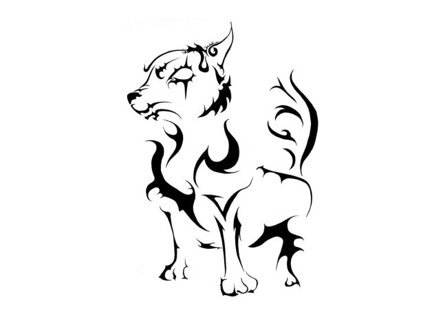 pretty tribal dog tattoo design. Black Bedroom Furniture Sets. Home Design Ideas