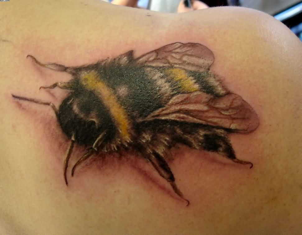 3D-Bumblebee-Tattoo-On-Right-Back-Shoulder