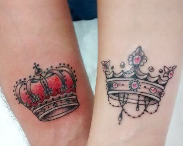Beautiful King And Queen Crown Tattoo Design For Couple All