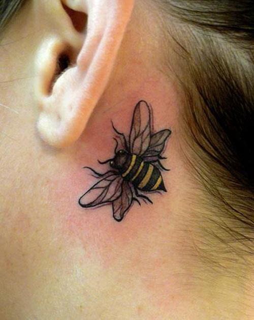 Bee Tattoo On Behind Ear