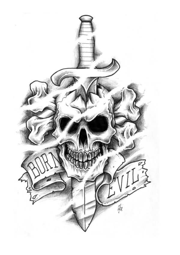 Black And Grey Dagger In skull Tattoo Design