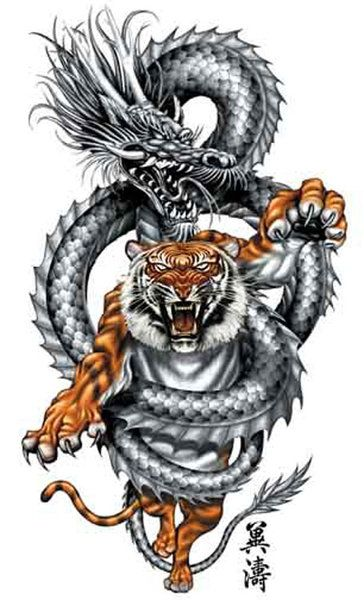 Chinese Dragon And Tiger Tattoos
