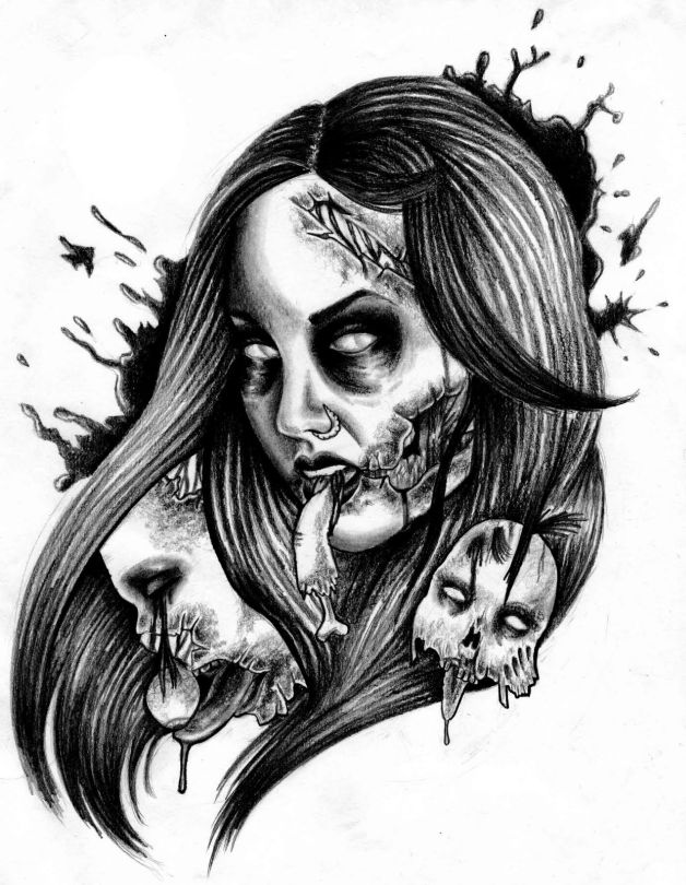 fresh zombie pinup with brain tattoo design. Black Bedroom Furniture Sets. Home Design Ideas