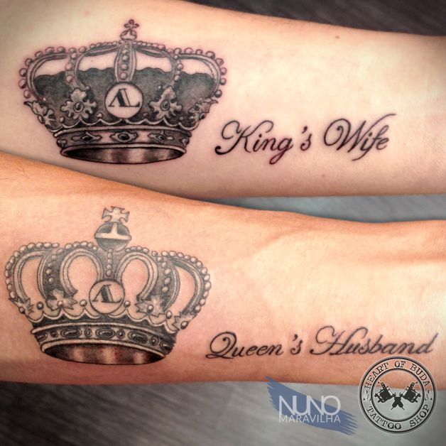 Grey ink queen and king tattoos on forearms for Crown tattoos on lower back