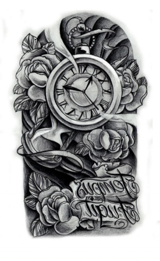 Half sleeve clock n flowers tattoo design for Clock tattoo half sleeve