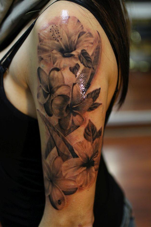 lily n flourishes tattoo on back shoulder. Black Bedroom Furniture Sets. Home Design Ideas