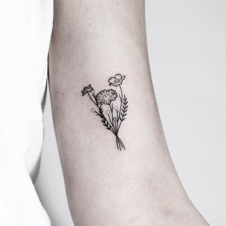 Image result for 4 flower bouquet wrist tattoo - All Tattoos For-Men