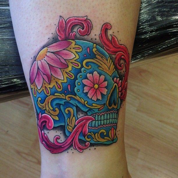 Lovely Sugar Skull And Flower Tattoos All Tattoos For Men