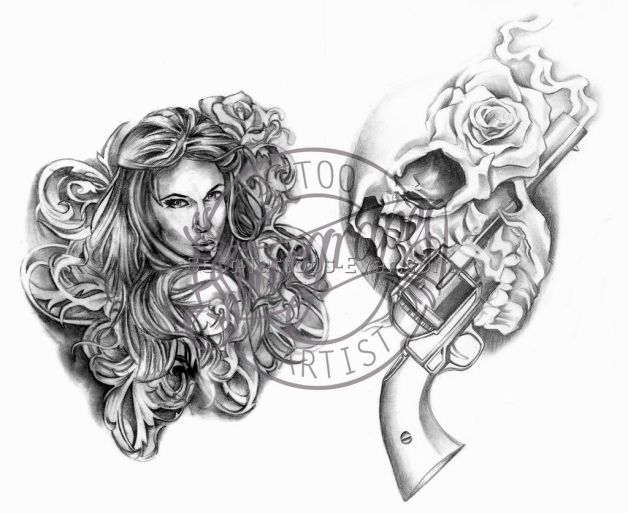 Skulls And Guns Tattoos: Mexican Skull And Guns Tattoo Design