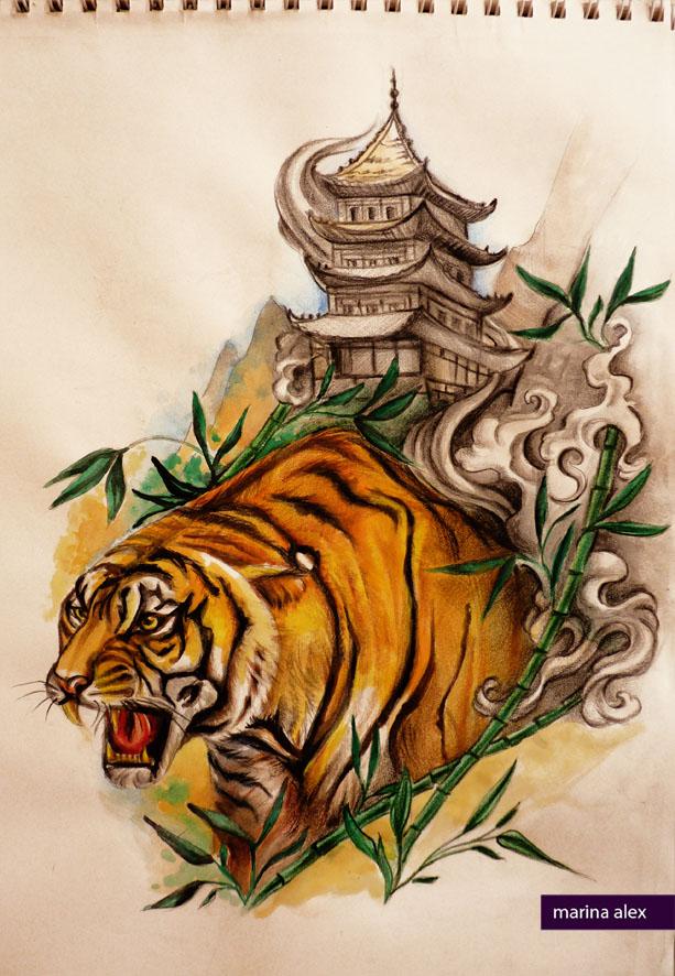 Oriental tattoo design tiger and pagoda by MarinaAlex ...