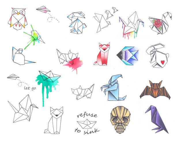 Origami Rabbit Tattoo On Hip