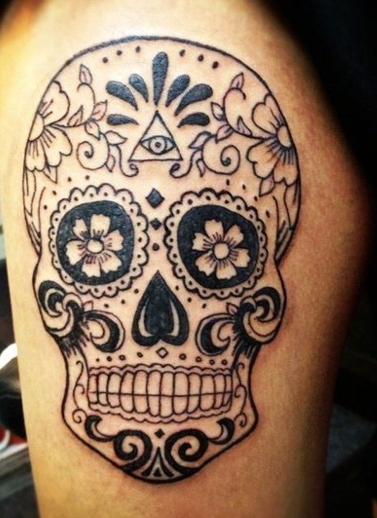 mexican sugar skull tattoo graphic. Black Bedroom Furniture Sets. Home Design Ideas