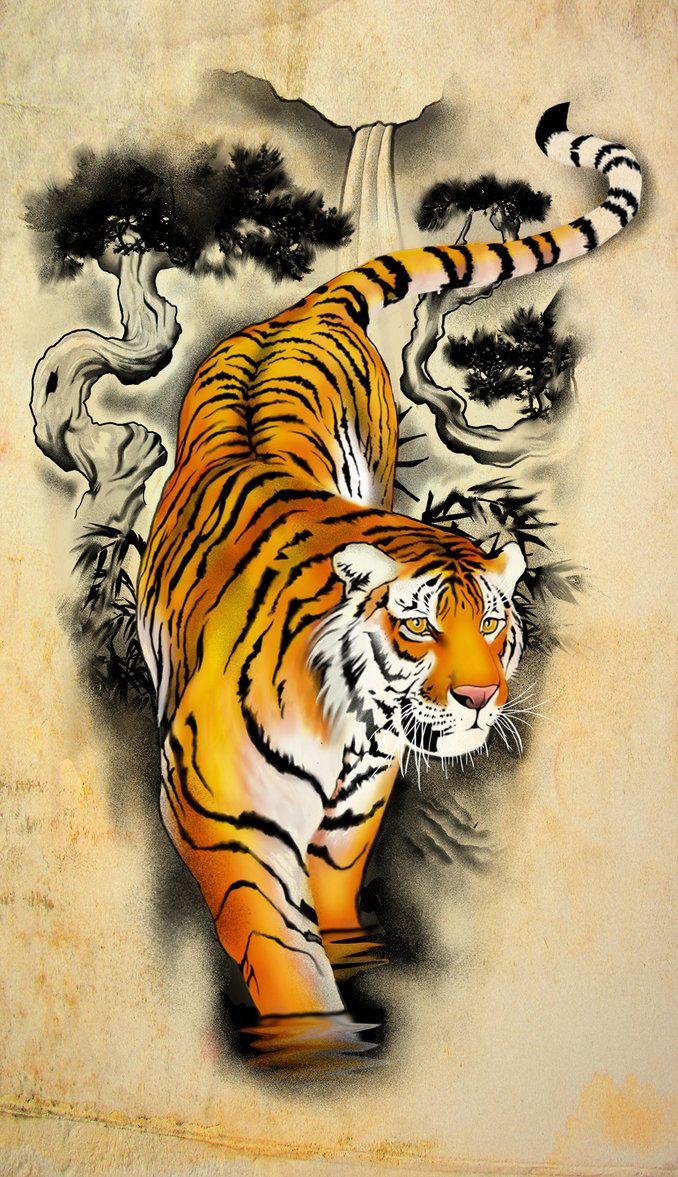 Tattoo Design - Tiger by badfish1111