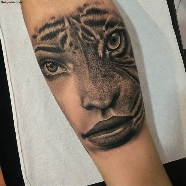 Tiger And Roses Tattoos On Lower Arm Photo 1 All Tattoos For Men