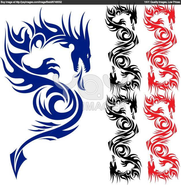 tribal dragon yin yang tattoo model. Black Bedroom Furniture Sets. Home Design Ideas