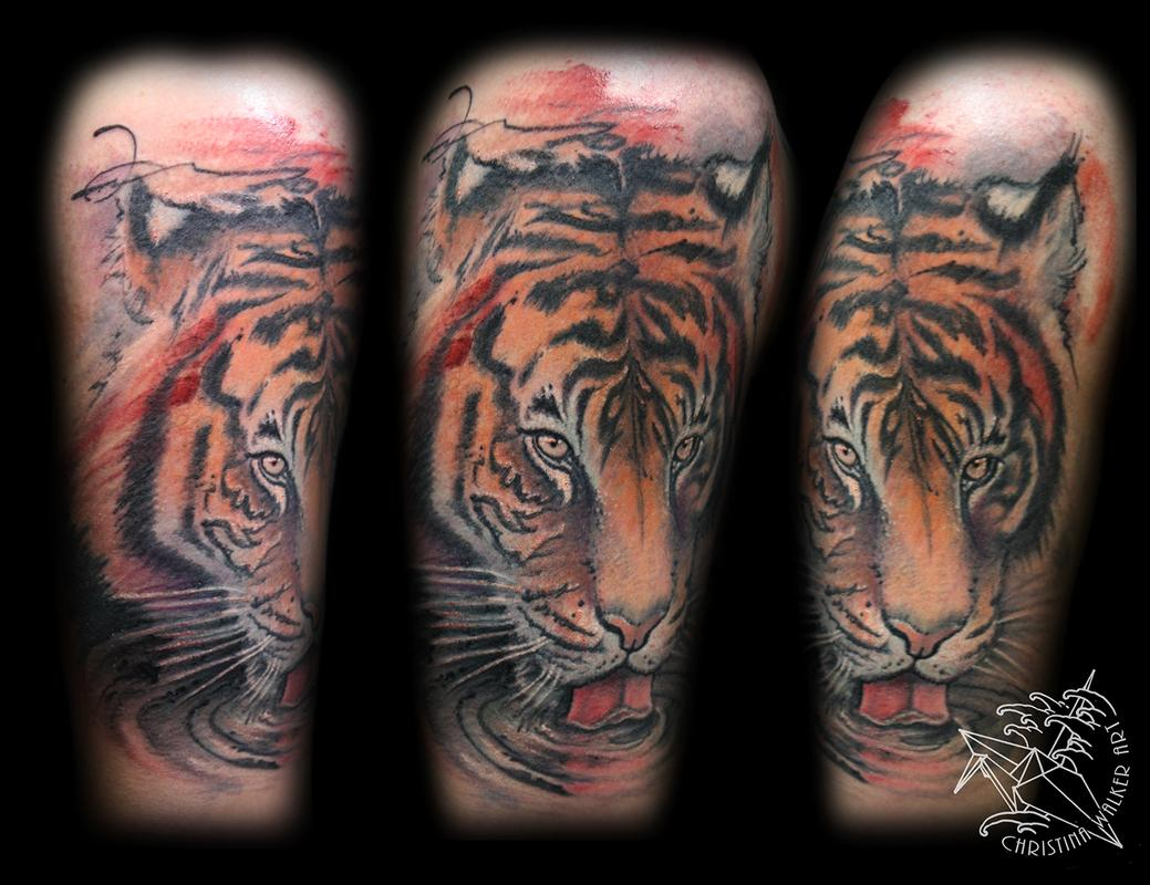 Watercolor Style Tiger Half Sleeve by Christina Walker - Watercolor style tiger half sleeve, this piece was done in two sittings so it's partially