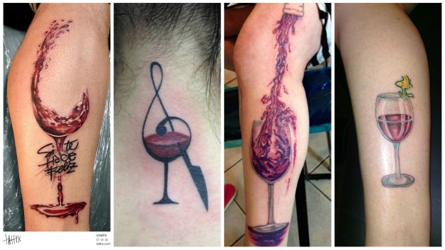 wine bottle tattoo with grapes. Black Bedroom Furniture Sets. Home Design Ideas