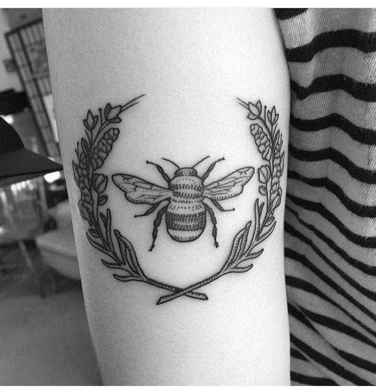 bumble bee & lavender & sweet pea tattoo