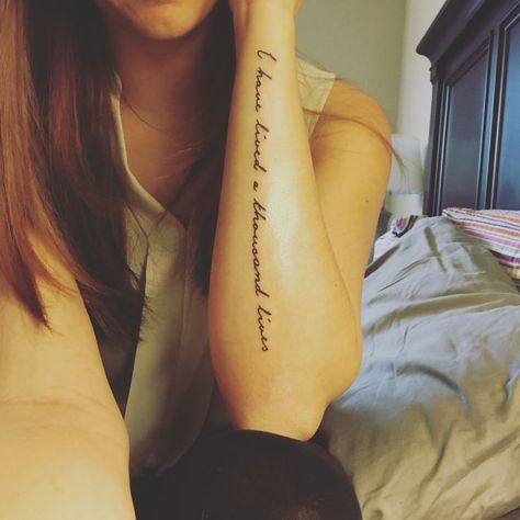 my literary quote arm tattoo