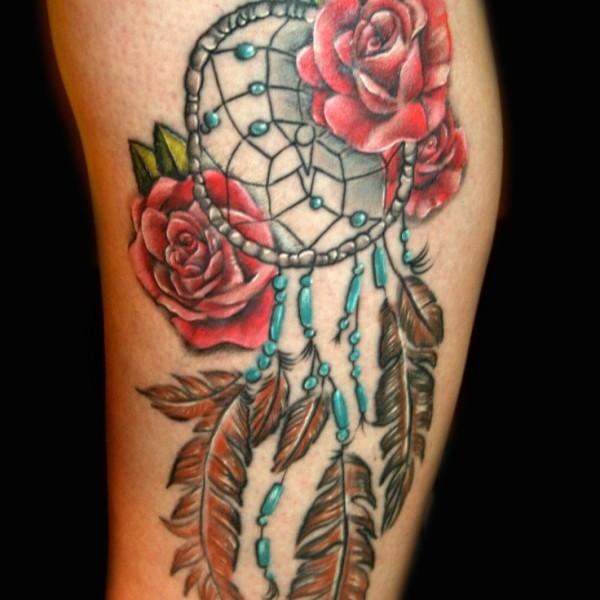rose dream catcher tattoo. Black Bedroom Furniture Sets. Home Design Ideas