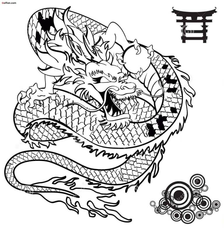 Cool Black Outline Asian Dragon Tattoo Stencil All Tattoos For Men