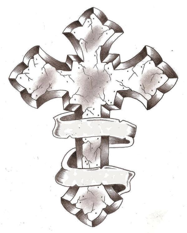 Ribbon around stone cross tattoo design