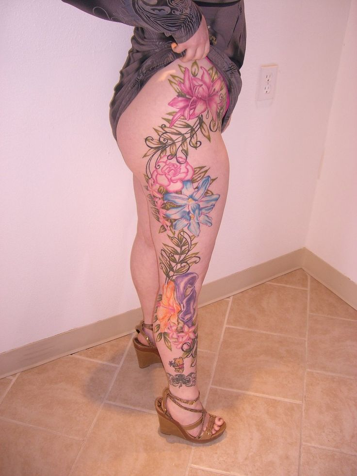 3daed1a4d Flowers leg sleeve tattoo design