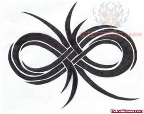 Infinity Family Symbol With Flowers Tattoo Design