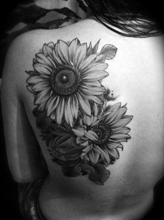 Back Sunflower Tattoo All Tattoos For Men
