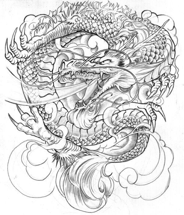 Asian Warrior Dragon Tattoo Design